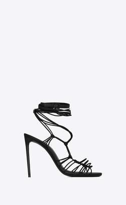Saint Laurent Sandals Robin Sandals In Smooth Leather Black 3