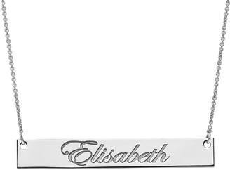 Medium Polished Script Name Bar Necklace, 14K
