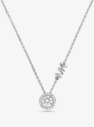 Michael Kors Precious Metal-Plated Sterling Silver Pave Halo Necklace