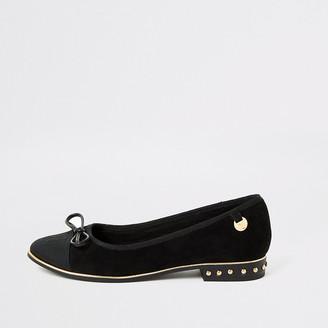 River Island Black suedette RU studded loafers