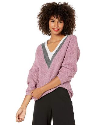 Mulberry Cable Stitch Women's Colorblock V-Neck Sweater Marled X-Large