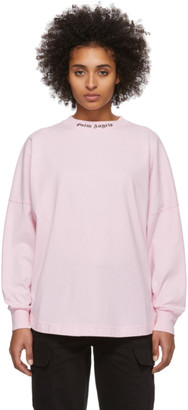 Palm Angels Pink Logo Long Sleeve T-Shirt