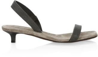 Brunello Cucinelli Monili-Trimmed Leather Slingback Sandals