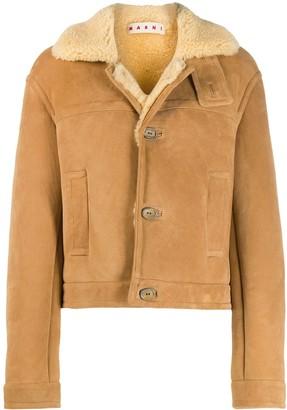 Marni Shearling Button-Up Short Coat