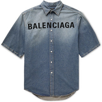 Balenciaga Oversized Logo-Embroidered Denim Shirt