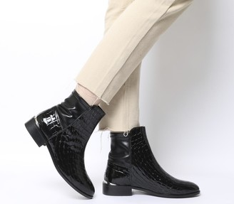 Office Ashby Stretch Panel Flat Boots Black Croc Leather