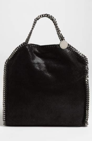 Stella McCartney 'Falabella - Shaggy Deer' Faux Leather Foldover Tote - Black