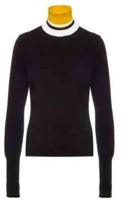 HUGO BOSS Sustainable Yarn Sweater With Striped Multiway Collar - White