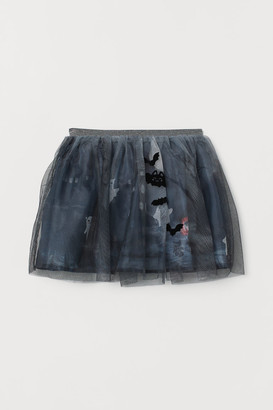 H&M Patterned Tulle Skirt - Black