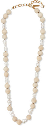 Oscar de la Renta Gold-tone, Freshwater Pearl And Wood Necklace