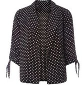 Dorothy Perkins Womens Spot Tie Sleeve Jacket- Black/White