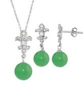 Onyx Cubic Zirconia Fleur-de-lux 2-piece Earring & Pendant Necklace Set