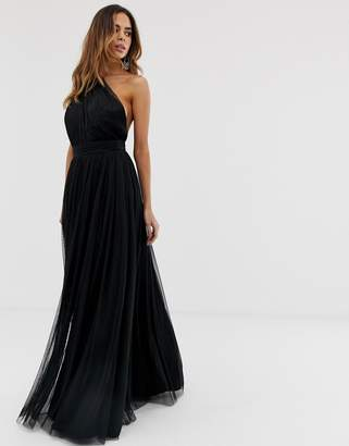 Asos Design one shoulder tulle maxi dress-Black