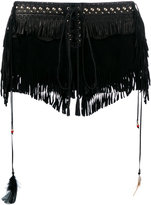 Roberto Cavalli fringed shorts - women - Leather/Silk - 38