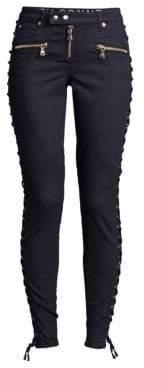 Faith Connexion Women's Mid-Rise Lace-Up Jeans - Black - Size 29 (6-8)
