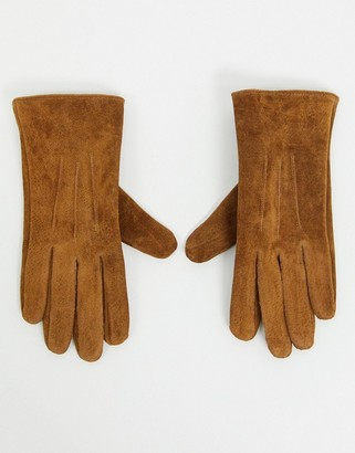 Barneys New York real suede gloves in tan