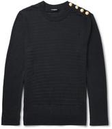 Balmain Slim-fit Distressed Ribbed Linen Sweater