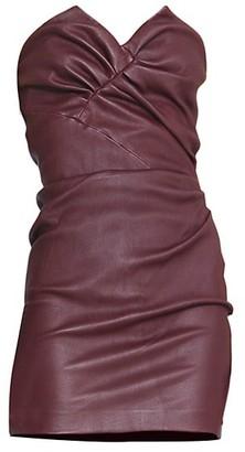 IRO Valana Ruched Strapless Leather Dress