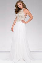 Jovani Embellished Halter Neckline Chiffon Dress 41594