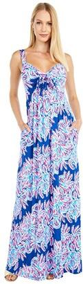 Lilly Pulitzer Maui Maxi Dress (Oyster Bay Blue Miss Shell) Women's Dress