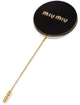 Miu Miu Logo-embossed Metal Pin - Womens - Black
