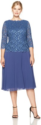 Alex Evenings Women's Plus-size Plus-size T-length Lace Mock Dress Dress