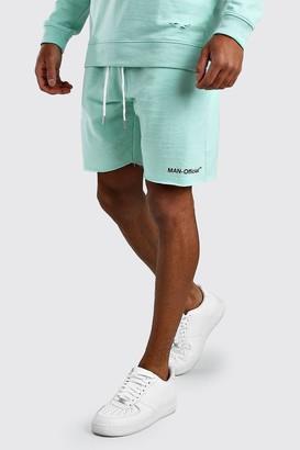 boohoo Mens Green Loose Fit Man Official Raw Hem Short, Green