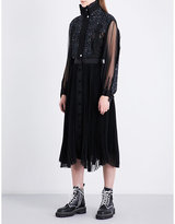 Sacai Pleated chiffon and tweed midi dress