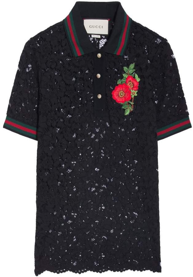 Gucci GG Web Lace Polo Shirt