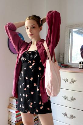 Urban Renewal Vintage Remnants Floral Ruched Rayon Mini Dress