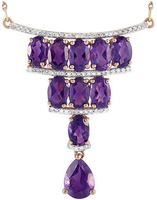 Non Branded 14K Rose Gold 0.25 Ct. Tw. Diamond & Amethyst Necklace