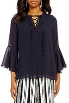 Gibson & Latimer Lace-Up Bell Sleeve Blouse