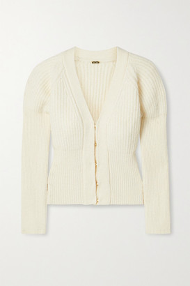 Cult Gaia Freida Ribbed-knit Cardigan - Ivory