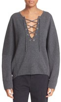 Vince Women's Lace-Up Merino Wool & Cashmere Pullover