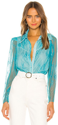Divine Heritage Chantilly Lace Button Up Blouse