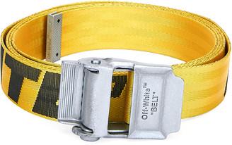 Off-White Men's Industrial Web Logo Belt, Yellow/Black