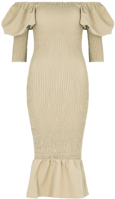 Lavish Alice Olive Off-the-shoulder Smocked Midi Dress