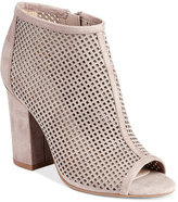Bar III Megan Perforated Peep-Toe Block-Heel Booties, Created for Macy's
