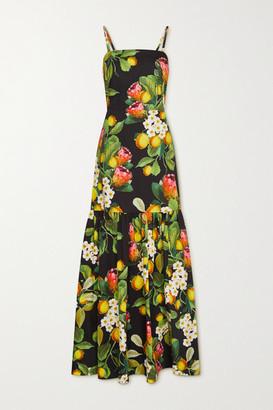 Borgo de Nor Cordelia Pleated Printed Cotton-poplin Maxi Dress - Black