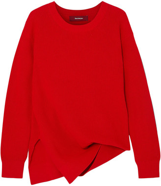 Sies Marjan Fern Pickup Asymmetric Ribbed Cotton Sweater