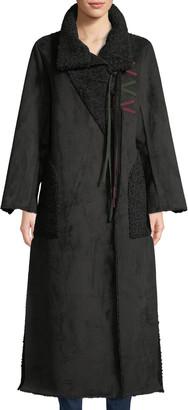 Amanda Baldan Long Tie-Front Faux-Suede Coat w/ Sun-Catcher Embroidery