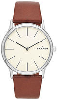Skagen Mens Silvertone and Leather Watch