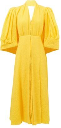 Emilia Wickstead Deva Puff-sleeve Cotton-blend Cloque Dress - Yellow