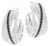 Judith Ripka Mercer Black Sapphire & Sterling Silver Crisscross Hoop Earrings
