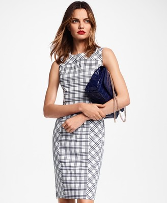 Brooks Brothers Plaid Stretch Cotton Double-Weave Sheath Dress