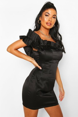 boohoo Petite Ruffle Off Shoulder Satin Mini Dress