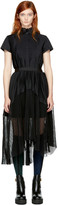Sacai Black Pleated Shirt Dress