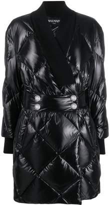 Balmain quilted patent coat