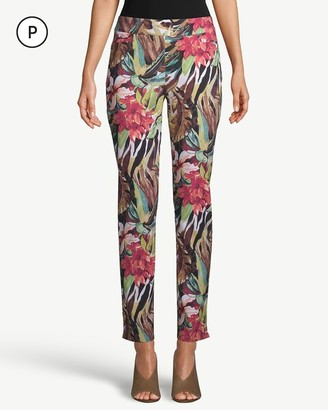 So Slimming Petite Brigitte Tropical-Print Slim Ankle Pants