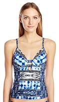 Kenneth Cole Reaction Women's Indigo Go Girl Aztec Push up Bra Tankini with Foam Cups